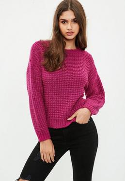Petite Red Cropped Sweater
