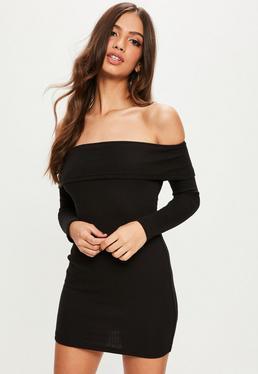 Petite Black Ribbed Bardot Dress