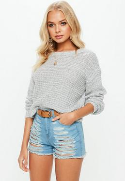 Petite Gray Knitted Sweater