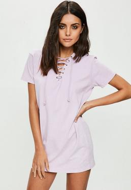 Petite Lilac Washed Out T-shirt Dress