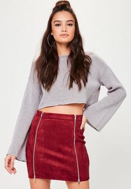 Petite Burgundy Faux Suede Mini Skirt