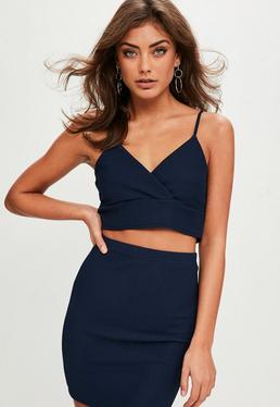 Petite Navy Textured Top