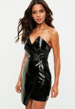 Petite Black Vinyl Bandeau Mini Dress