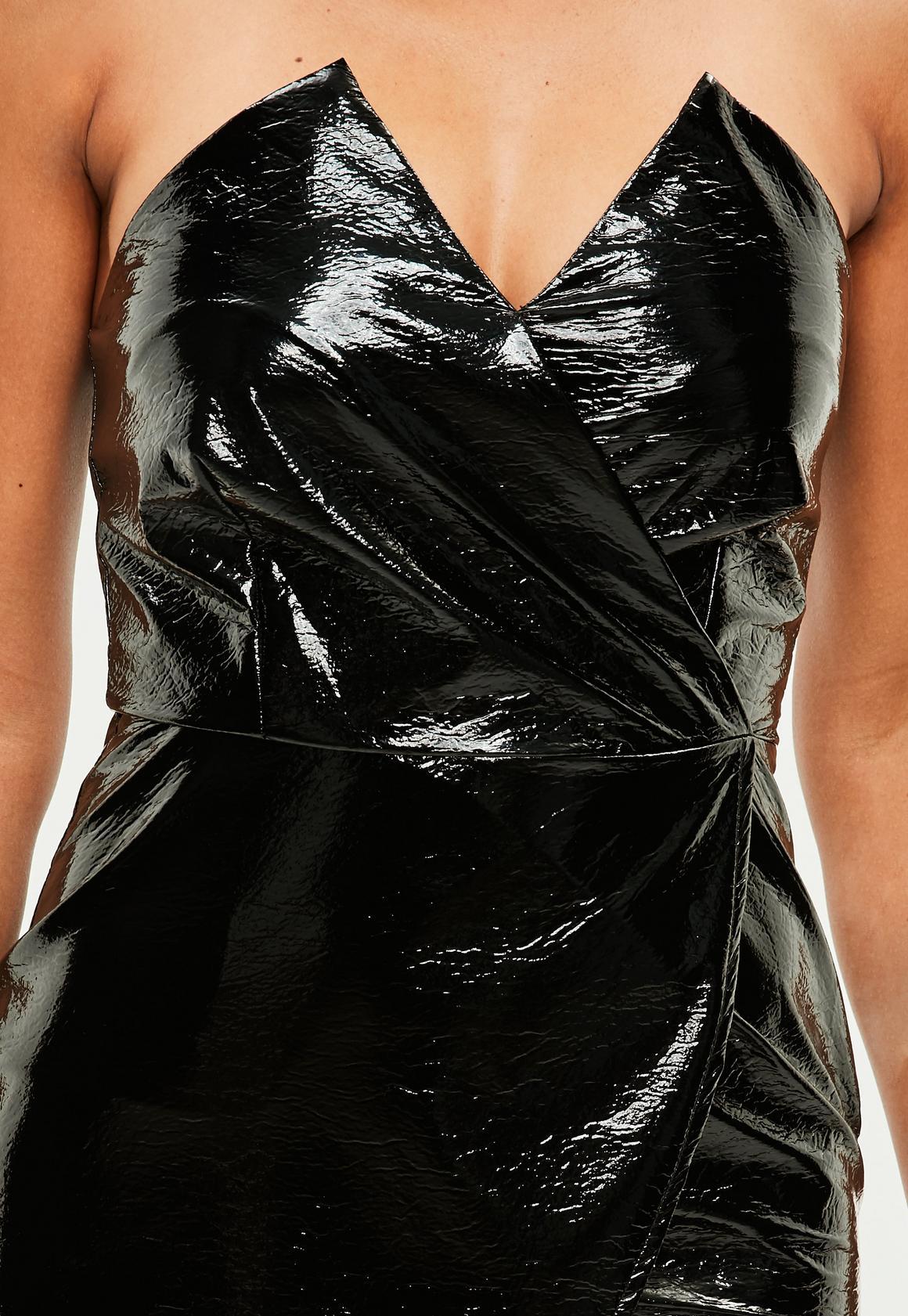 27b462a636f Missguided - Petite Black Vinyl Bandeau Mini Dress - unidays