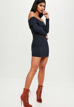 Petite Navy Off Shoulder Dress