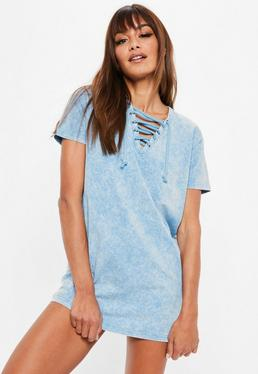 Petite Blue Washed Out T-shirt Dress