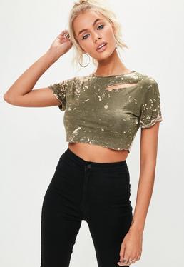 Petite Khaki Washed Out Cropped T-shirt