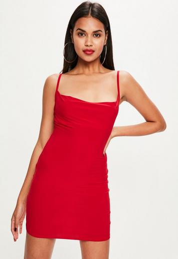 Petite Red Slinky Cowl Neck Dress Missguided