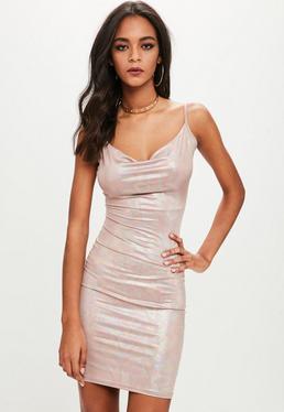 Petite Pink Slinky Cowl Neck Metallic Dress