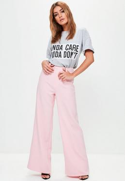 Petite Pink Crepe Wide Leg Trousers