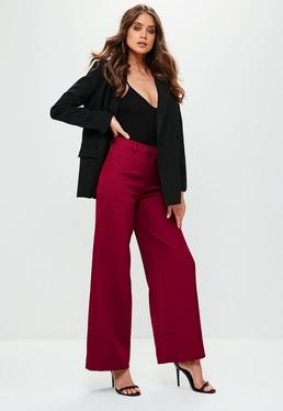 Petite Premium Red Crepe Wide Leg Trousers