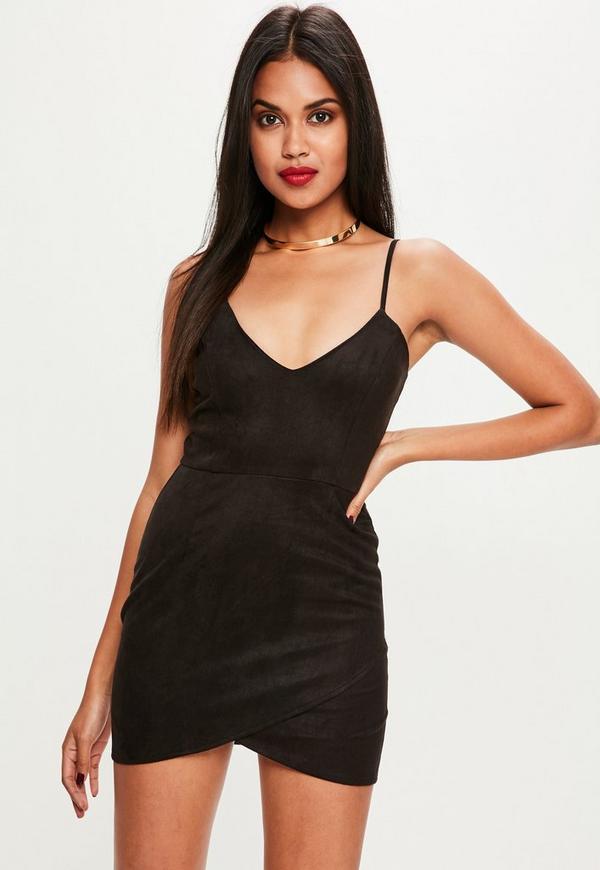 Petite Black Faux Suede Mini Dress
