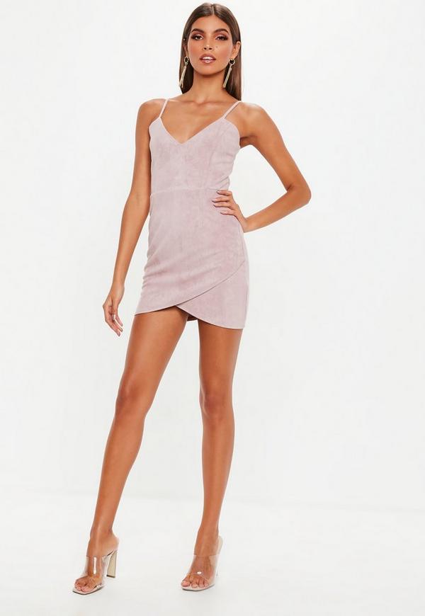 Petite Pink Faux Suede Mini Dress
