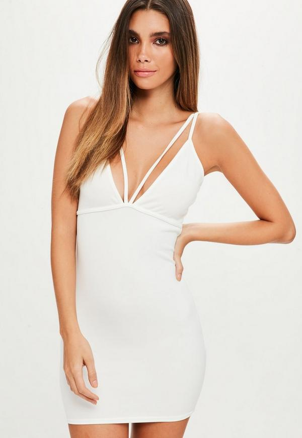 Petite White Scuba Strappy Bust Cup Dress