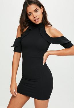 Petite Black Frill Cold Shoulder Dress