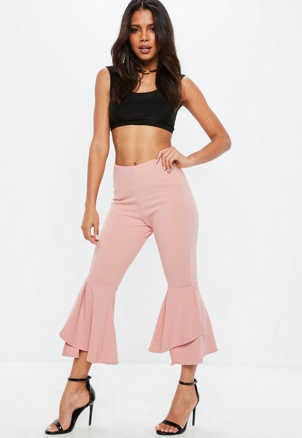 petite pink double frill pants