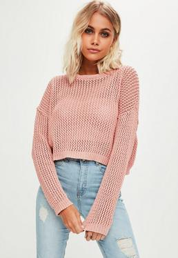 Petite Grobstrick Crop-Pullover in Rosa