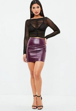 Petite Purple Faux Leather Skirt
