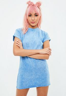 Petite Blue Washed T-shirt Dress