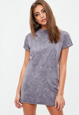 Petite Mauve Washed T-shirt Dress
