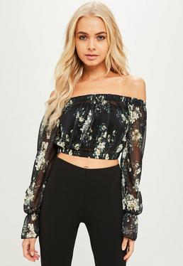Petite Navy Printed Mesh Crop Top