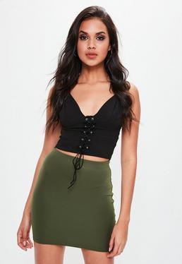 Petite Green Scuba Skirt