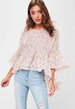 Petite Rosa High-Low Blumenbluse