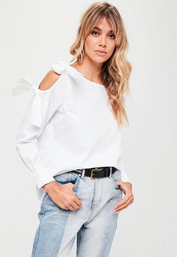 Petite White Tie Shoulder Long Sleeve Blouse