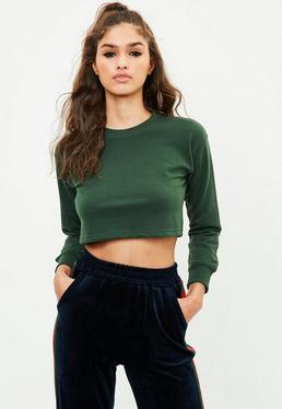 Petite Green Cropped Sweatshirt