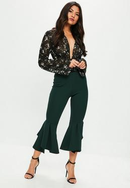 Petite Green Double Frill Pants