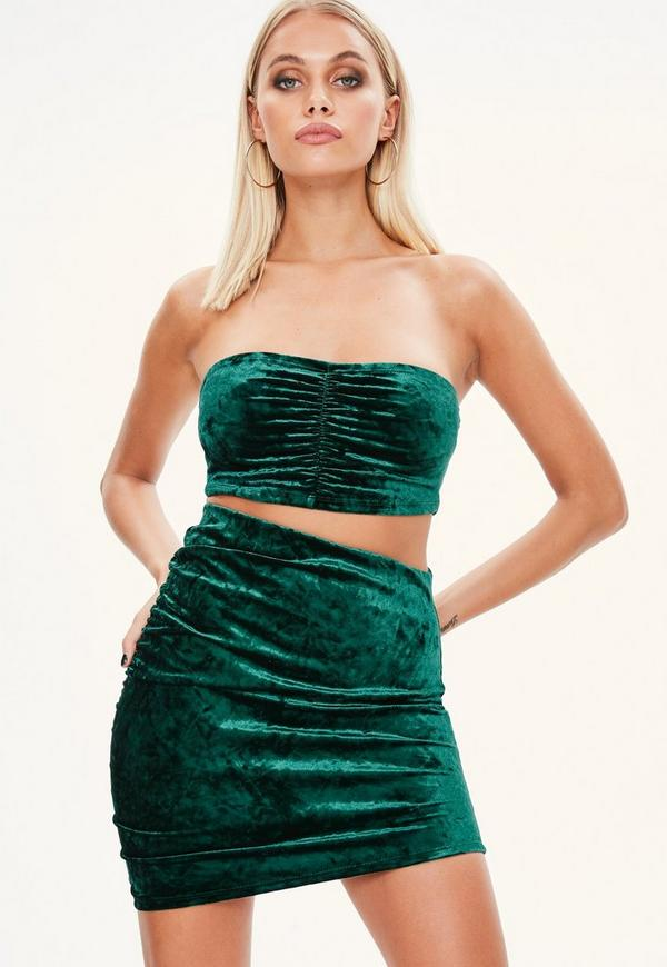 petite green crushed velvet bandeau top missguided. Black Bedroom Furniture Sets. Home Design Ideas
