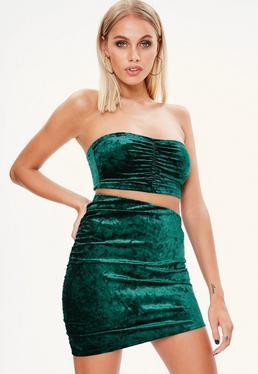 Petite Green Crushed Velvet Mini Skirt
