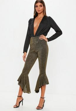 Petite Gold Sparkle Flare Trouser