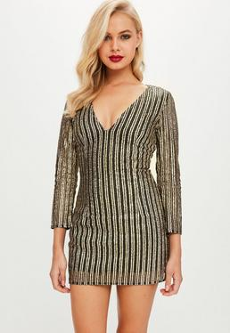 Petite Gold Plunge Dress
