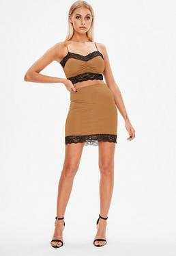 Petite Brown Lace Trim Co Ord Skirt
