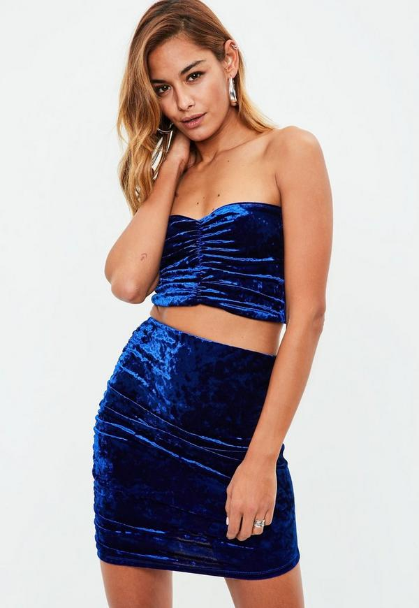 petite blue velvet bandeau top co ord missguided. Black Bedroom Furniture Sets. Home Design Ideas