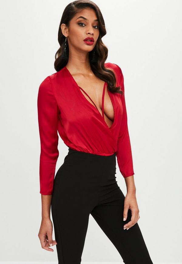 Petite red cross front satin bodysuit