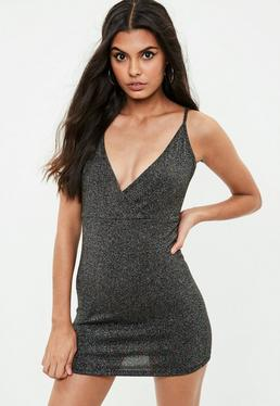 Petite Black Metallic Jersey Dress