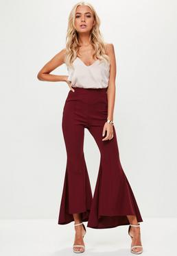 Petite Burgundy Frilled Trousers