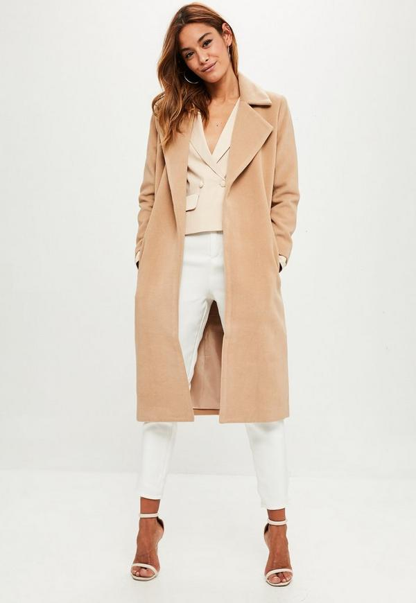 Petite Camel Longline Duster Coat Missguided