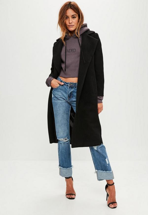 Petite black faux wool duster coat
