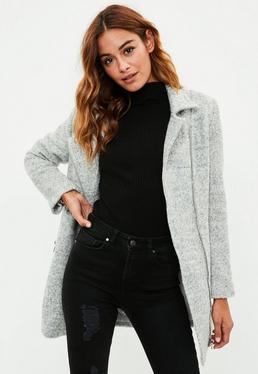 Petite Grey Wool Biker Coat