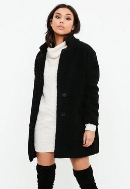 Petite Black Teddy Shearling Wool Coat