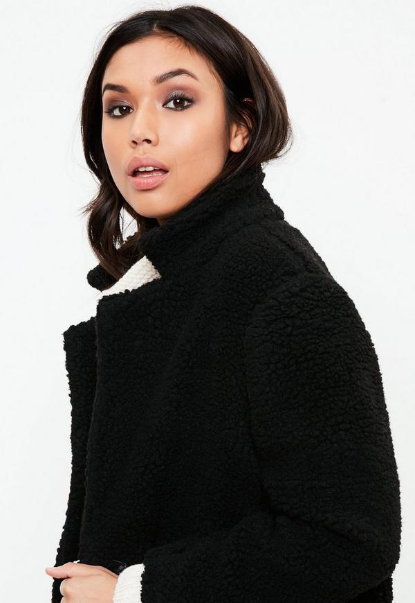 Petite Black Teddy Shearling Wool Coat | Missguided