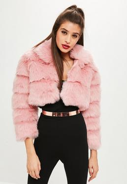 Petite Pink Cropped Pelted Faux Fur Coat