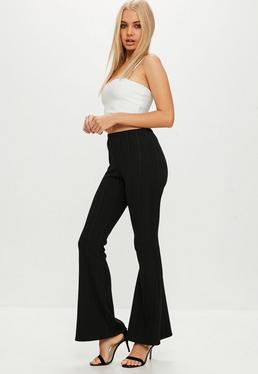 Petite Black Flared Trousers