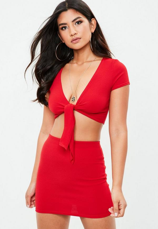 Petite Red Crop Top by Missguided