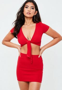 Petite Red Mini Skirt