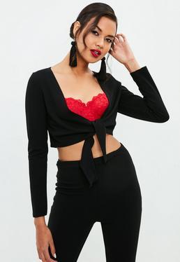 Petite Black Tie Front Long Sleeve Crop Top