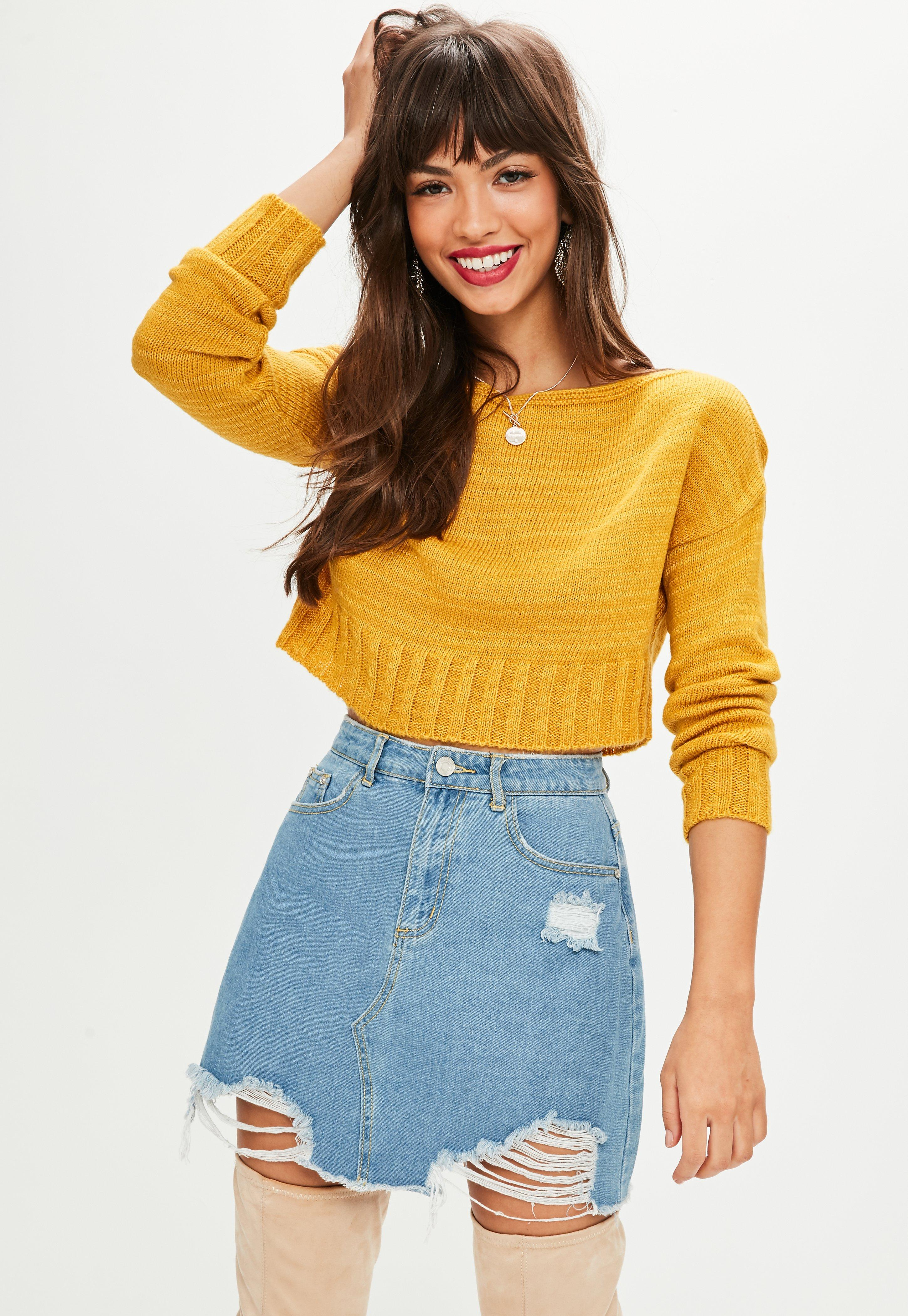 Petite Mustard Off The Shoulder Sweater | Missguided